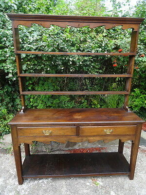 Large 18th Century Heavy Period Style Antique Welsh Oak Dresser With Rack