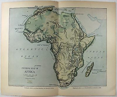 Original 1902 Dated Physical Map of Africa by Dodd Mead & Company