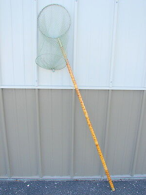 Antique Vintage Early Bamboo Wood Brass Fly Fishing Net [LE]