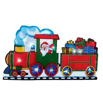 Premier Light Up BATTERY Christmas Window Silhouette - Santa Train