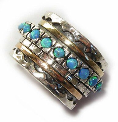 Gold 14k Silver Bridal Wedding Ring Turquoise Opal Spinning ring
