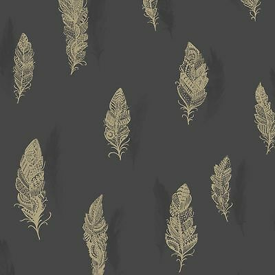 Beautiful Quill Feather Wallpaper - Holden Decor - Charcoal 11503 New Bedroom