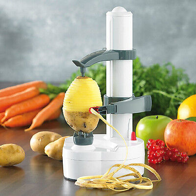 Electric Rotating Vegetable Potato Fruit Orange Apple Skin Peeler Cutter White
