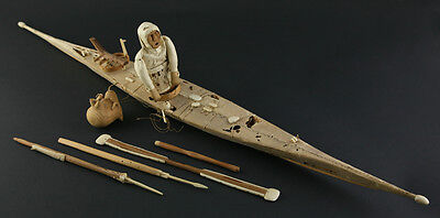 Alaskan/Inuit Toy Canoe with Original Box, c. 1900