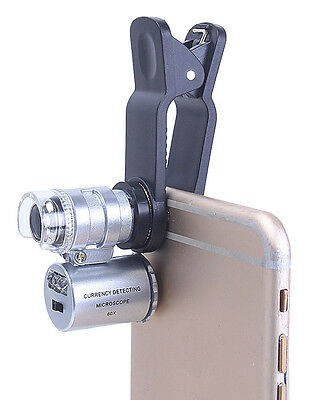 60x Handheld Mini Pocket Microscope Loupe Jeweler Magnifier With LED Light