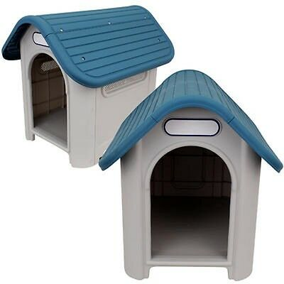 Indoor Outdoor Plastic Dog House Small/Medium Pet All Weather Puppy Shelter Blue