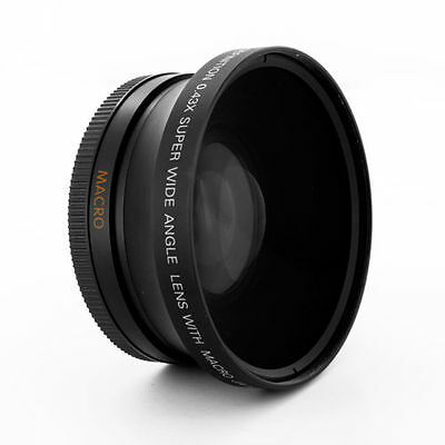 Wide Angle .43X Conversion Lens + Macro fits 67mm thread on Canon Nikon Sony Cam
