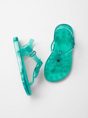 a84c9be5ca63 Baby GAP Girls Flower Jelly T-strap Thong Aqua Sandals Shoes 6 10 Toddler  NWT