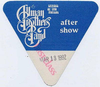 Allman Brothers Band * *RARE* * 3/13/1992 Beacon Theatre Backstage Pass vtg tour