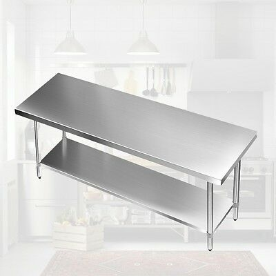NEW Stainless Steel Work Bench Table Kitchen Island Commercial Workshop 182cm