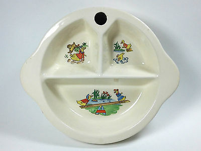 Vintage Excello Divided Children's / Baby Feeding Dish Plate Ducks