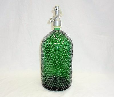 Vintage Soda Siphon Green Glass Antique Syphon Seltzer bottle GOOD CONDITION