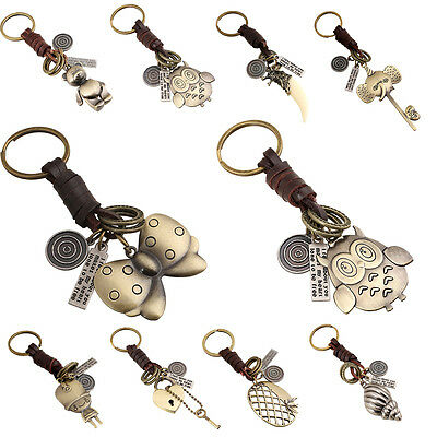 Women Men Cute Animal Bronze Plated Vintage Leather Key Chains Key ring