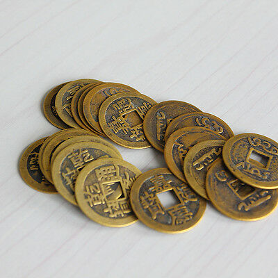"""10pcs Feng Shui Coins 1.00"""" 2.3cm Lucky Chinese Fortune Coin I Ching Set FT"""