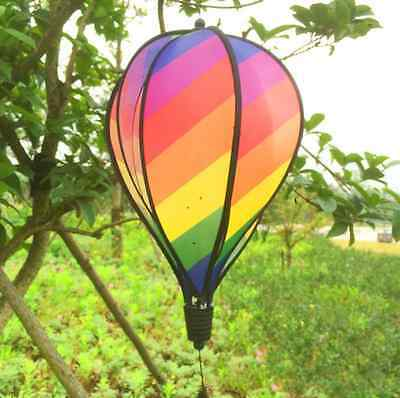 Striped 6-Panel Hot Air Balloon Wind Spinner Multi-colors Garden Yard Decor New