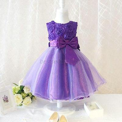 Baby Girl Flower Princess Dress Birthday Wedding Bridesmaid Pageant Tulle Dress