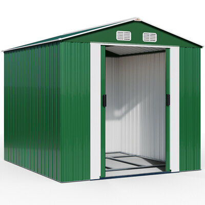 DEUBA Metal Garden Tool Shed Storage 10x8.5ft Apex Outdoor Steel House Store New