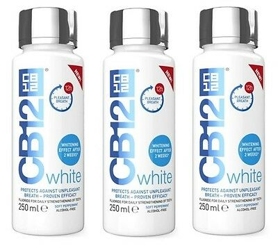 3 x CB12 White Mouthwash 250ml Whitening Effect After 2 weeks & Fresh Breath!