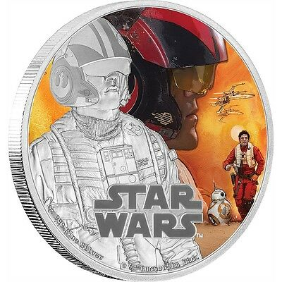 STAR WARS: THE FORCE AWAKENS - POE DAMERON 2016 1 oz Proof Silver Coin IN STOCK