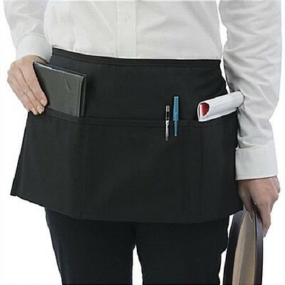 4 New Waitress Waiter Server 3 Pocket Waist Apron, Black 100% Commercial grade!