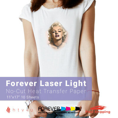 "Forever Laser Light (No-Cut) Heat Transfer Paper 11"" x 17"" - 10 Sheets"