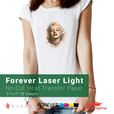 "Forever Laser Light No-Cut Paper 11"" X 17""- 25 Sheets Heat Transfer Paper"