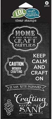 LOL Laugh Out Loud KEEP CALM AND CRAFT ON Clear Stamps
