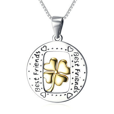 BEST FRIEND Lucky Clover Pendant Friendship Forever Necklace 925 Sterling Silver