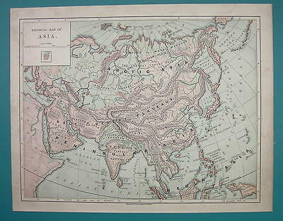 1875 MAP COLOR - ASIA Physical
