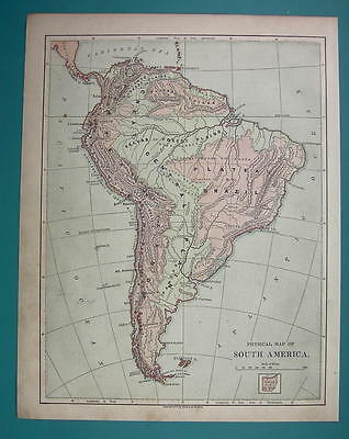1875 MAP COLOR - SOUTH AMERICA Physical + Volcanos