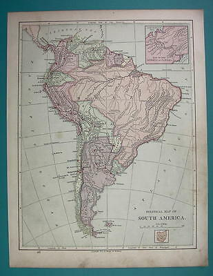 1875 MAP COLOR - SOUTH AMERICA Political