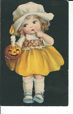 AS-058 - Ellen Clapsaddle Halloween Girl with Jack O Lantern Candle Vintage