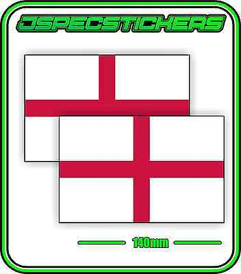 ENGLISH ENGLAND FLAG STICKER DECAL COUNTRY WINDOW BUMPER x2 140mm BNIP