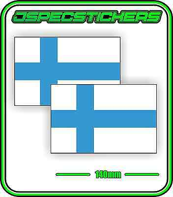 FINLAND FINNISH FLAG STICKER DECAL COUNTRY WINDOW BUMPER x2 140mm BNIP