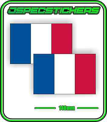 FRENCH FRANCE FLAG STICKER DECAL COUNTRY WINDOW BUMPER x2 140mm BNIP