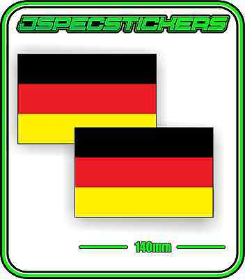 GERMAN GERMANY FLAG STICKER VINYL DECAL COUNTRY WINDOW BUMPER x2 140mm BNIP