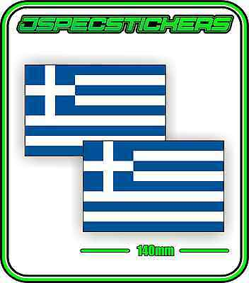 GREEK GREECE FLAG STICKER VINYL DECAL COUNTRY WINDOW BUMPER x2 140mm BNIP