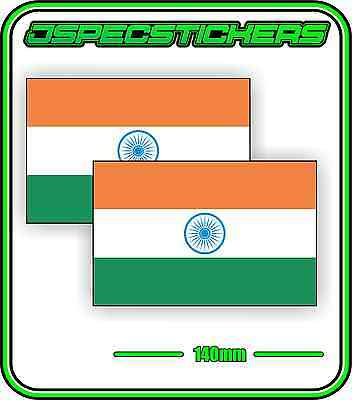 INDIAN INDIA FLAG STICKER VINYL DECAL COUNTRY WINDOW BUMPER x2 140mm BNIP