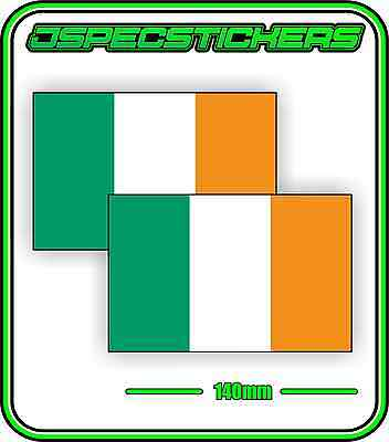 IRISH IRELAND FLAG STICKER VINYL DECAL COUNTRY WINDOW BUMPER x2 140mm BNIP