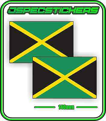 JAMAICA JAMAICAN FLAG STICKER VINYL DECAL COUNTRY WINDOW BUMPER x2 140mm BNIP