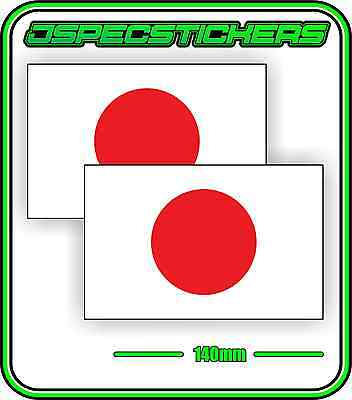 JAPAN JAPANESE FLAG STICKER VINYL DECAL COUNTRY WINDOW BUMPER x2 140mm BNIP