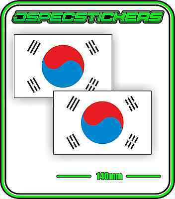 KOREA KOREAN FLAG STICKER VINYL DECAL COUNTRY WINDOW BUMPER x2 140mm BNIP