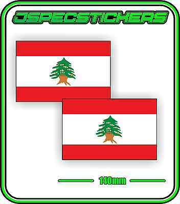 LEBANON LEBANESE FLAG STICKER VINYL DECAL COUNTRY WINDOW BUMPER x2 140mm BNIP