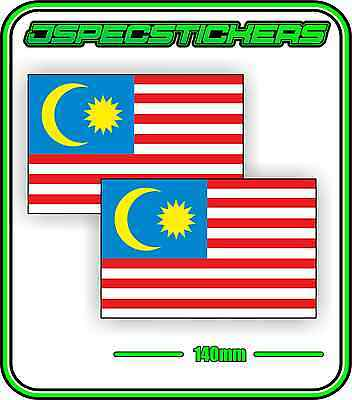 MALAYSIA MALAYSIAN FLAG STICKER VINYL DECAL COUNTRY WINDOW BUMPER x2 140mm BNIP