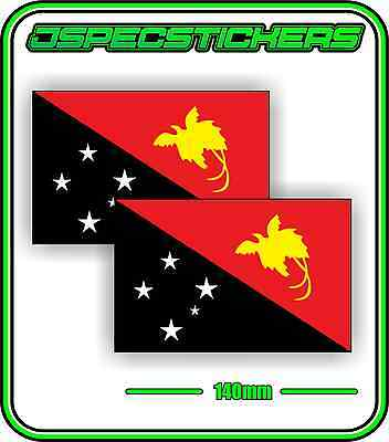 PAPUA NEW GUINEA FLAG STICKER VINYL DECAL COUNTRY WINDOW BUMPER x2 140mm BNIP