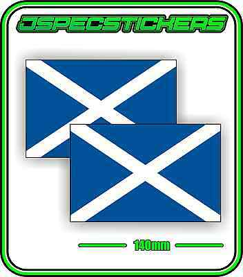 SCOTTISH SCOTLAND FLAG STICKER VINYL DECAL COUNTRY WINDOW BUMPER x2 140mm BNIP