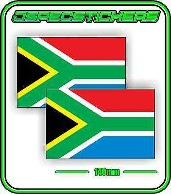 SOUTH AFRICA  FLAG STICKER VINYL DECAL COUNTRY WINDOW BUMPER x2 140mm BNIP