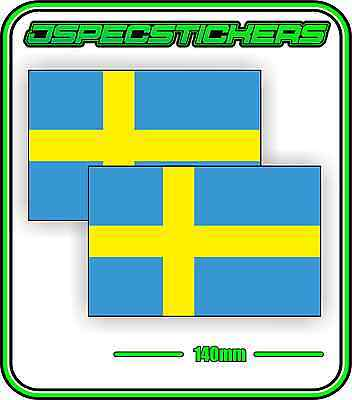 SWEDEN SWEDISH FLAG STICKER VINYL DECAL COUNTRY WINDOW BUMPER x2 140mm BNIP