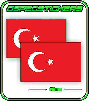 TURKEY TURKISH FLAG STICKER VINYL DECAL COUNTRY WINDOW BUMPER x2 140mm BNIP