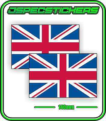 UK GREAT BRITAIN FLAG STICKER VINYL DECAL COUNTRY WINDOW BUMPER x2 140mm BNIP